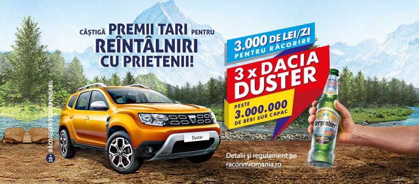 Concurs Bergenbier - RacorimRomania 2020 - Castiga 3.000 de lei pe zi sau una dintre cele 3 masini Dacia Duster - bani - castiga.net - bere