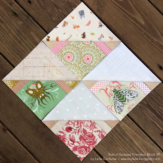 "Block 39 - Year of Scrappy Triangles, foundation paper pieced 6"" HST quilt block patterns"