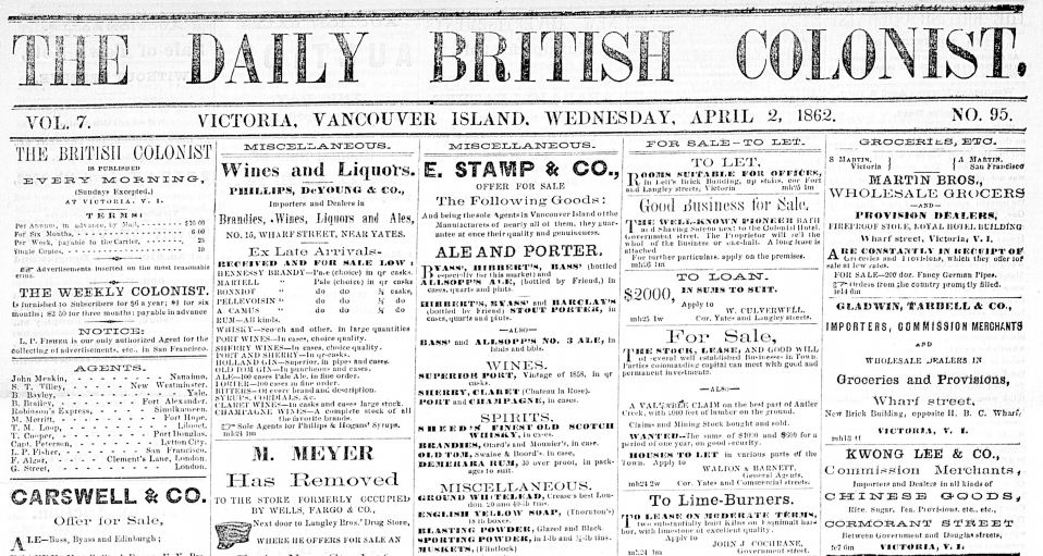 April 2 1862 British Colonist headline History of Victoria BC - loan document