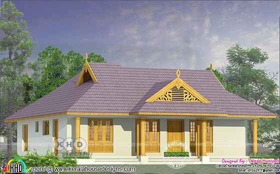 Single floor traditional Kerala home 1372 sq-ft