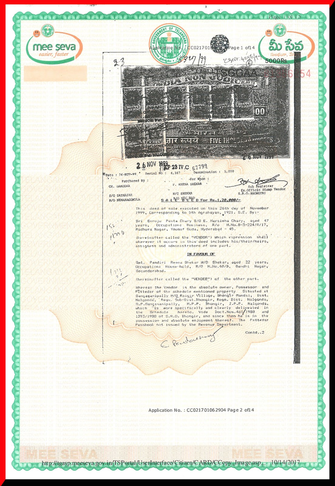 sale deed fabricated documents No.5327 of 1999