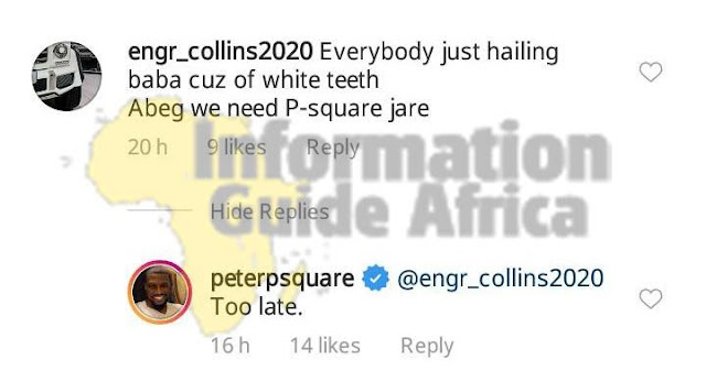 Check Out Peter Psquare's Savage Response To Fan Who Wants Them Back Together