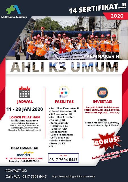 Ahli K3 Umum kemnaker tgl. 11-28 Januari 2020 di Jakarta