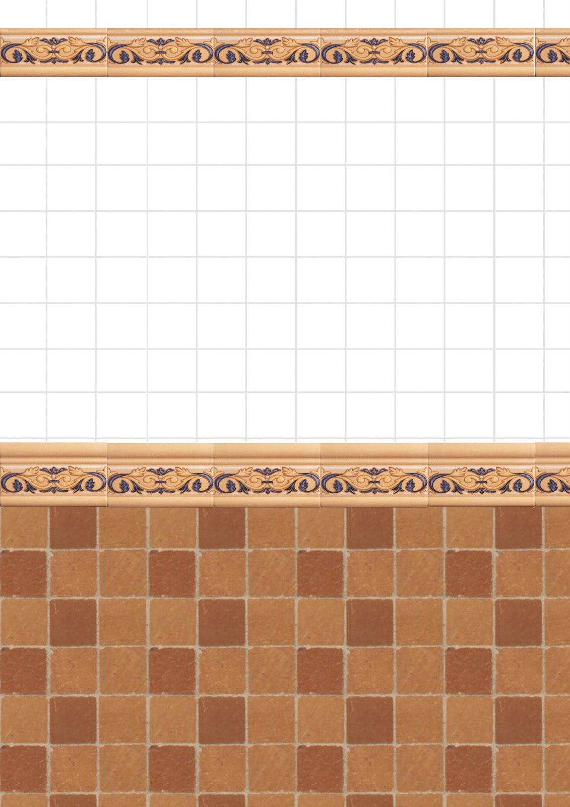 Mis papeles a escala 1 12 papeles de cocinas y ba os - Papel para azulejos de bano ...