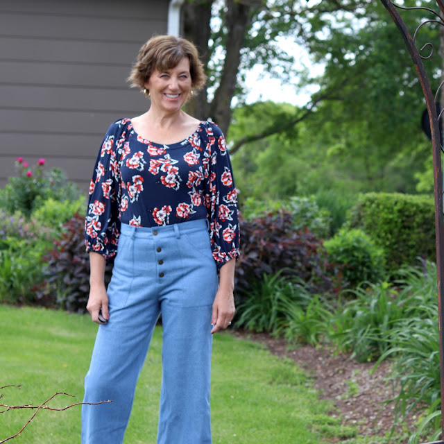 Friday Pattern Company's Adrienne Blouse made from a Style Maker Fabrics' jersey knit