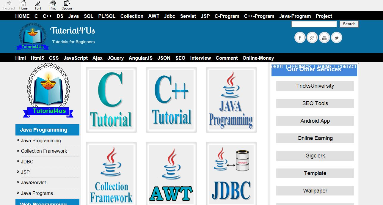 Online java tutorial choice image any tutorial examples w3schools jquery tutorial pdf image collections any tutorial largest offline study zone world top 6 computerindiabix baditri Gallery