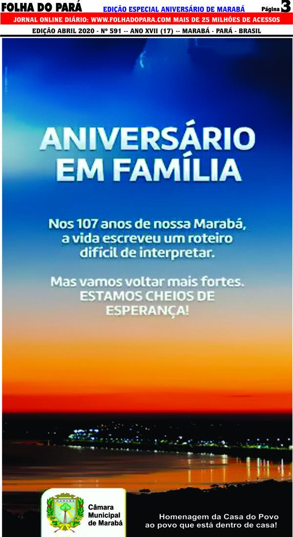HOMENAGEM DA CÂMARA MUNICIPAL À CIDADE DE MARABÁ PELOS SEUS 107 ANOS