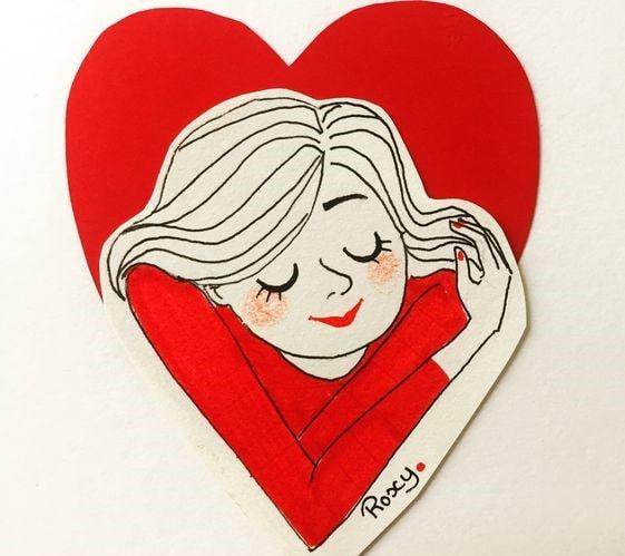 ilustración de chica abrazándose con un corazón rojo detrás de ella