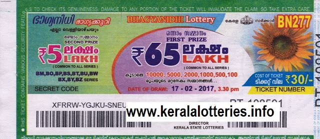 Kerala lottery result of Bhagyanidhi (BN-277) on 17 February 2017