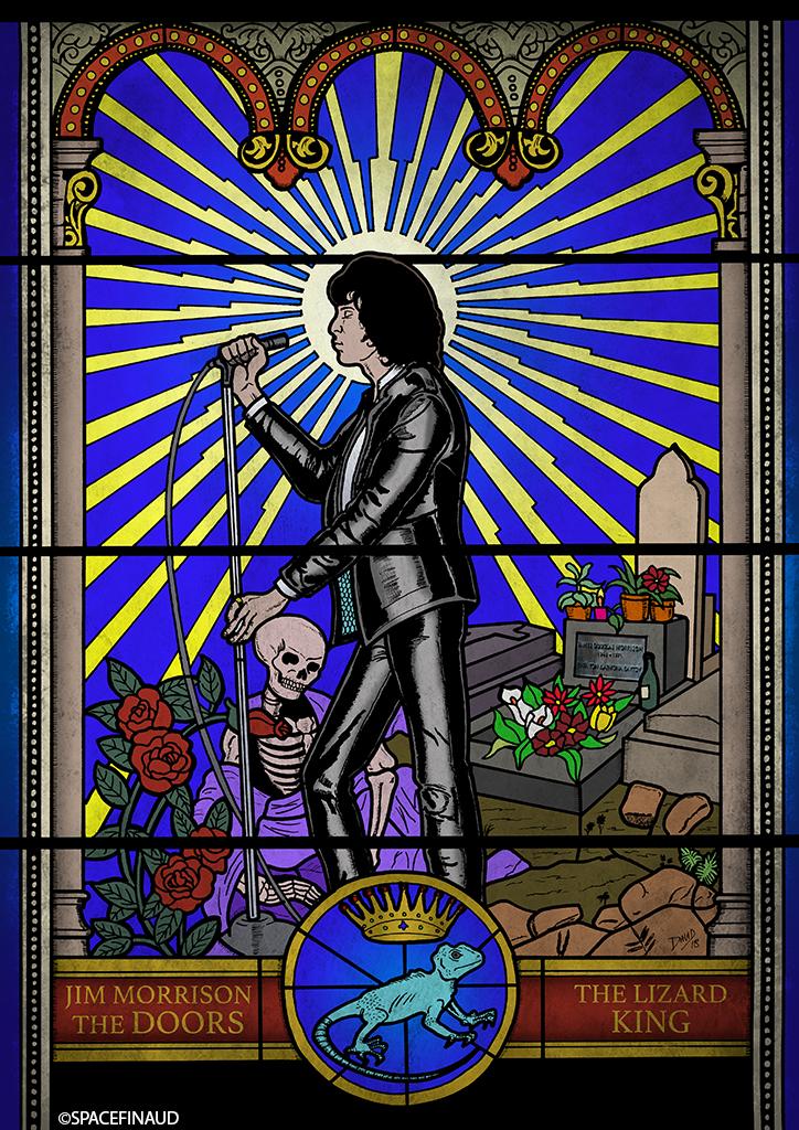 Une petite idée me traversait l'esprit pour rendre hommage à Jim Morrison. Je me suis dit que le réaliser sous forme de vitrail pouvait être une idée sympa et différente de ce que je fais d'habitude. Et je pense en faire d'autres dans le même style avec Jimi Hendrix et d'autres artistes de rock et métal. A voir.
