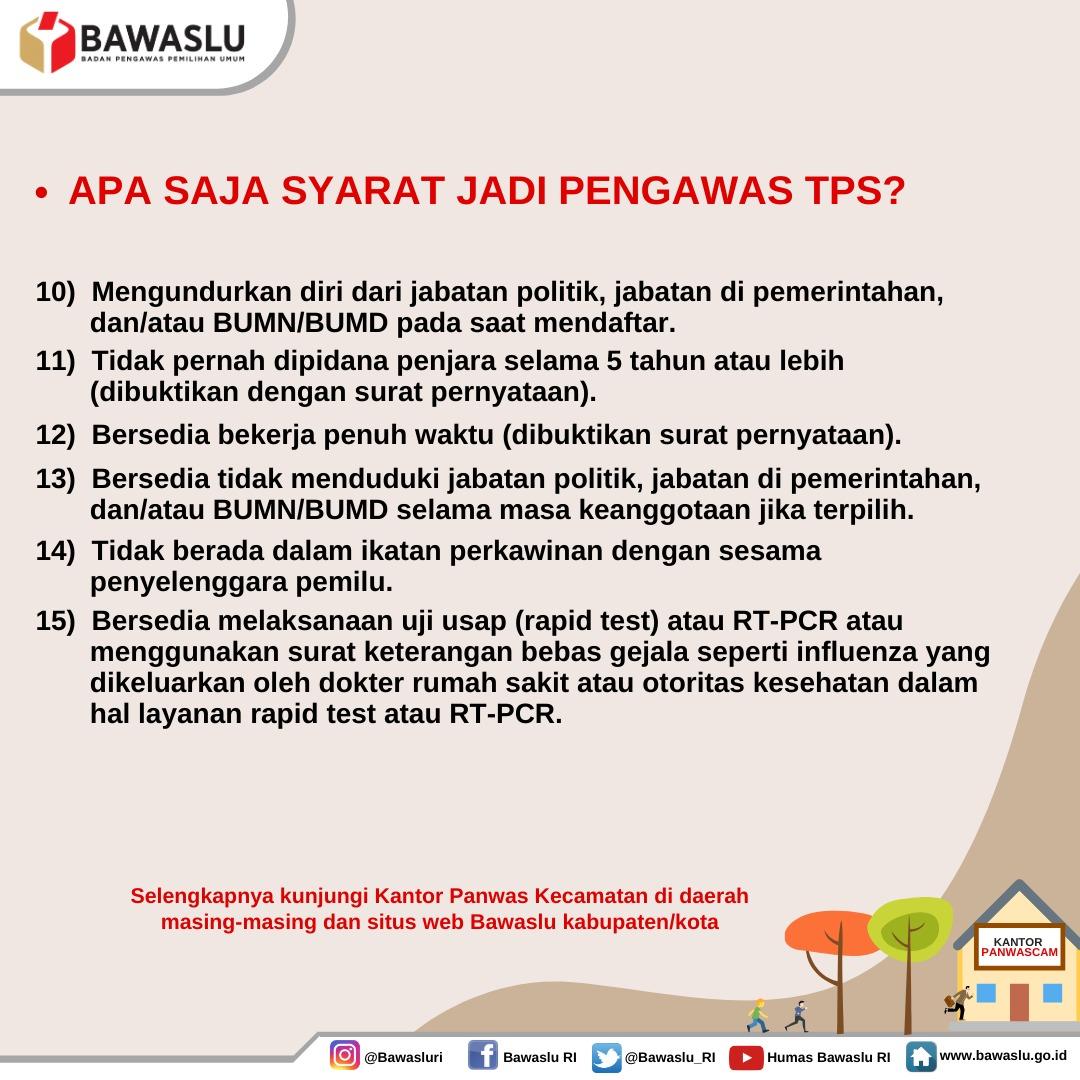 Lowongan Kerja Tenaga Pengawas Pemilihan Bawaslu Republik Indonesia Tingkat SMA Oktober 2020