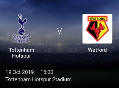 LIVE MATCH: Tottenham Hotspur Vs Watford Premier League 19/10/2019