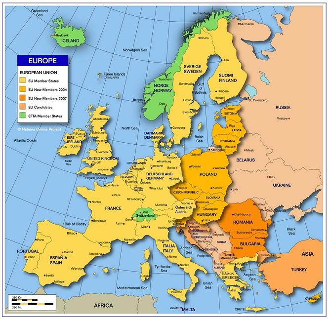 västra europa karta Karta över Europa Politiska Regionen västra europa karta