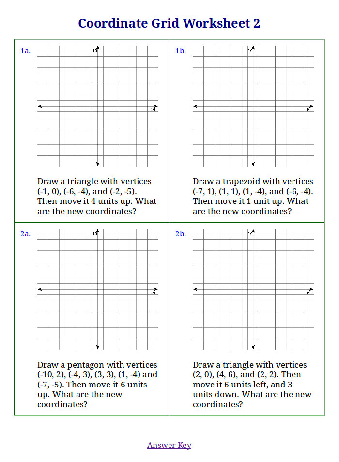 Worksheets For Coordinate Grid And Volume
