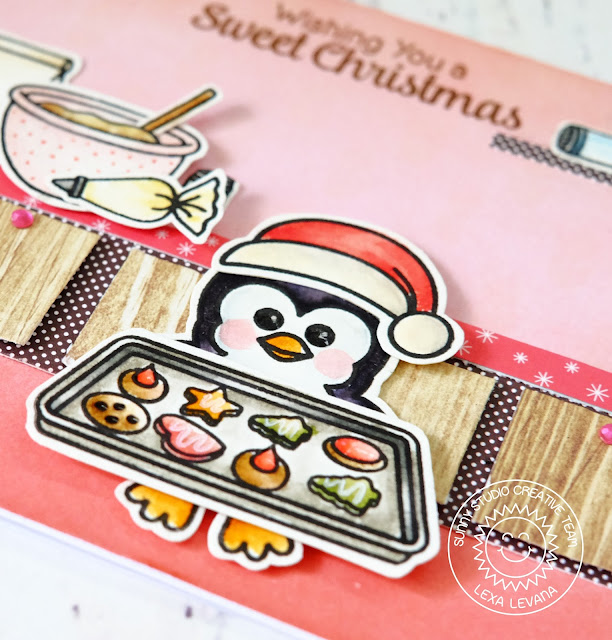 Sunny Studio Stamps: Blissful Baking and Bundled Up Penguin Christmas Card by Lexa Levana.