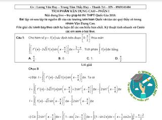 Bài tập tích phân vận dụng cao có lời giải