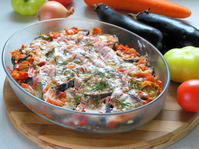 Baked eggplant with vegetables