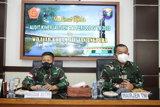 Taklimat Akhir Audit Kinerja Itjen TNI, Pangdam XII/Tpr : Hasil Wasrik Tolok Ukur Kinerja Dansat