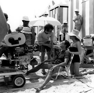 Steven Spielberg con Roy Scheider durante un descanso del rodaje de Tiburón