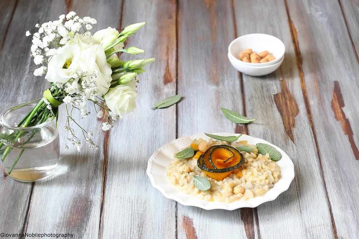 Risotto con zucca, gorgonzola e amaretti