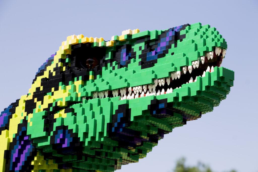dinosaur made out of bricks