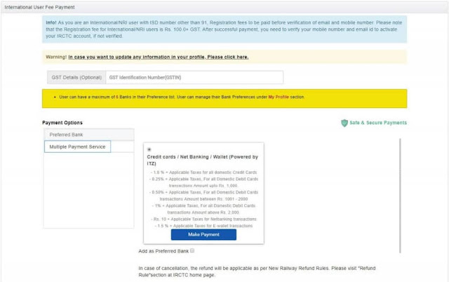 IRCTC Registration fee payment