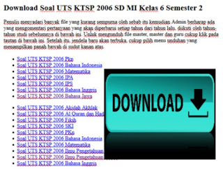 Soal UTS KTSP 2006 SD MI Kelas 6 Semester 2