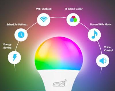 spesifikasi DINGS Smart Bulb 9W RGB CW