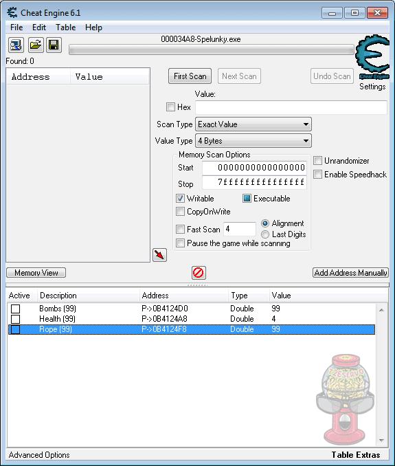 t2Eservo: Spelunky v1 1 CE Table +3 Cheats