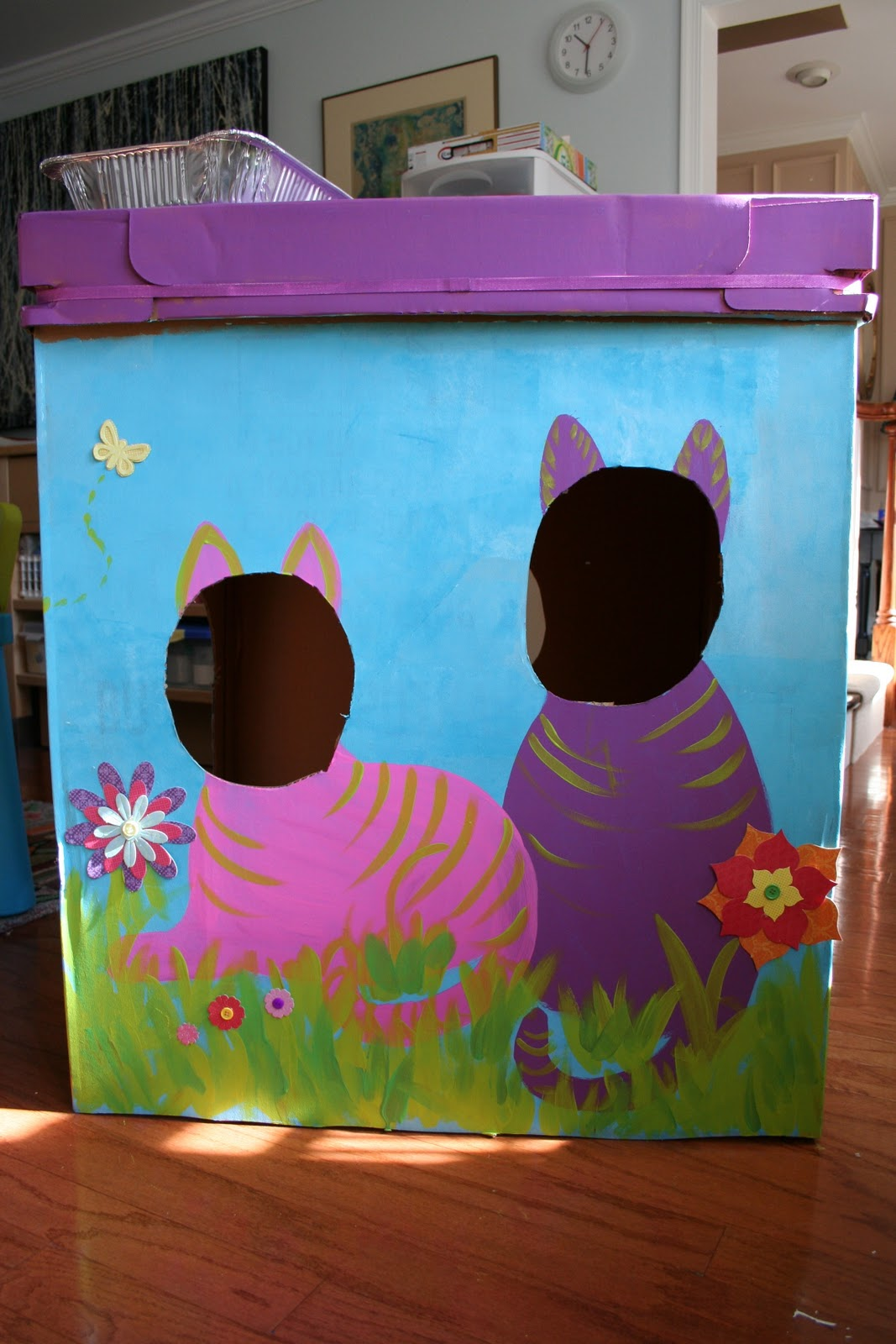 Painted Cardboard Box Cat Fort