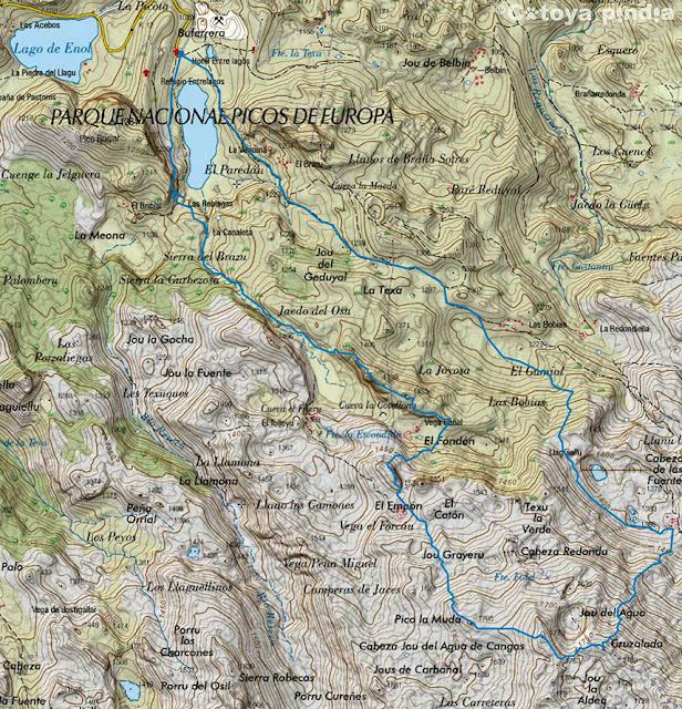 Mapa IGN con la ruta al Cantu Ceñal, la Cuerria, la Muda y los dos Hulaguas desde el Lago Ercina, en Picos de Europa.