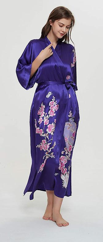 Women's Blue Long Silk Robes