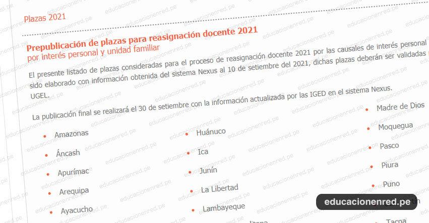 MINEDU: Prepublicación de Plazas para Reasignación Docente 2021 (Actualizado 15 Setiembre)