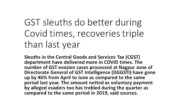GST sleuths do better during Covid times, recoveries triple