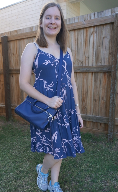 Kmart strappy tiered sundress in watercolour blue and blush print | away from the blue