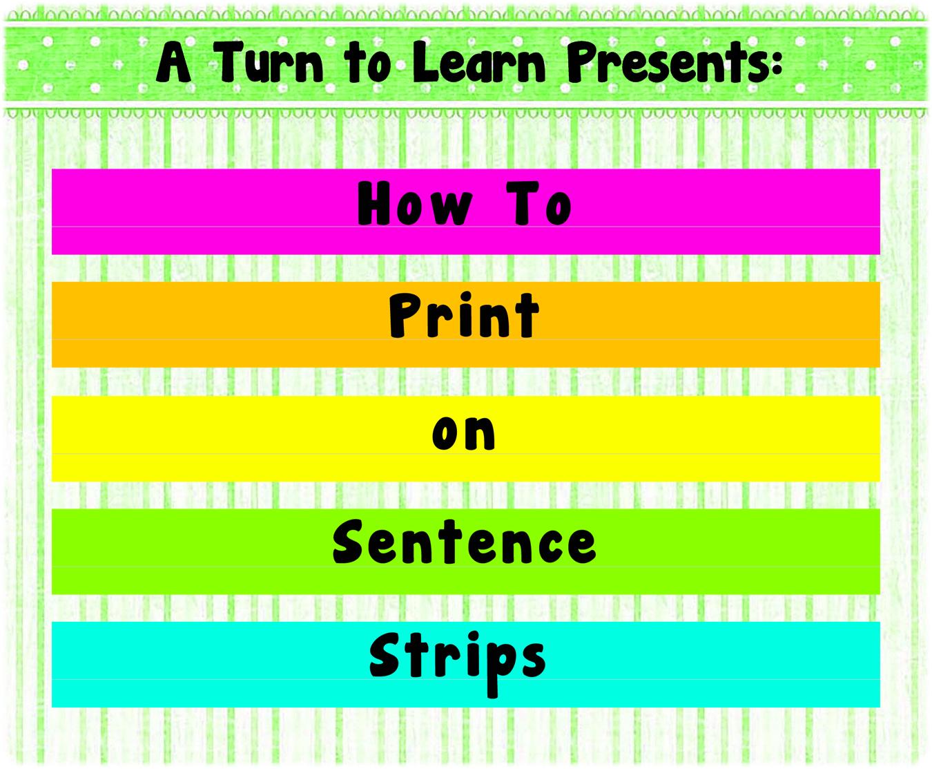 Sentence Strip Template