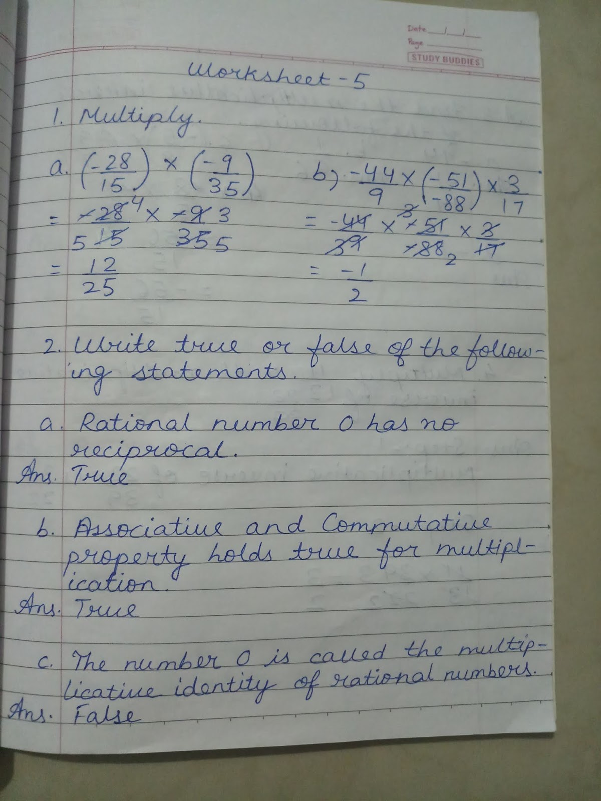 Math Ch 1 Rational Numbers Notebook Exercise And Worksheet