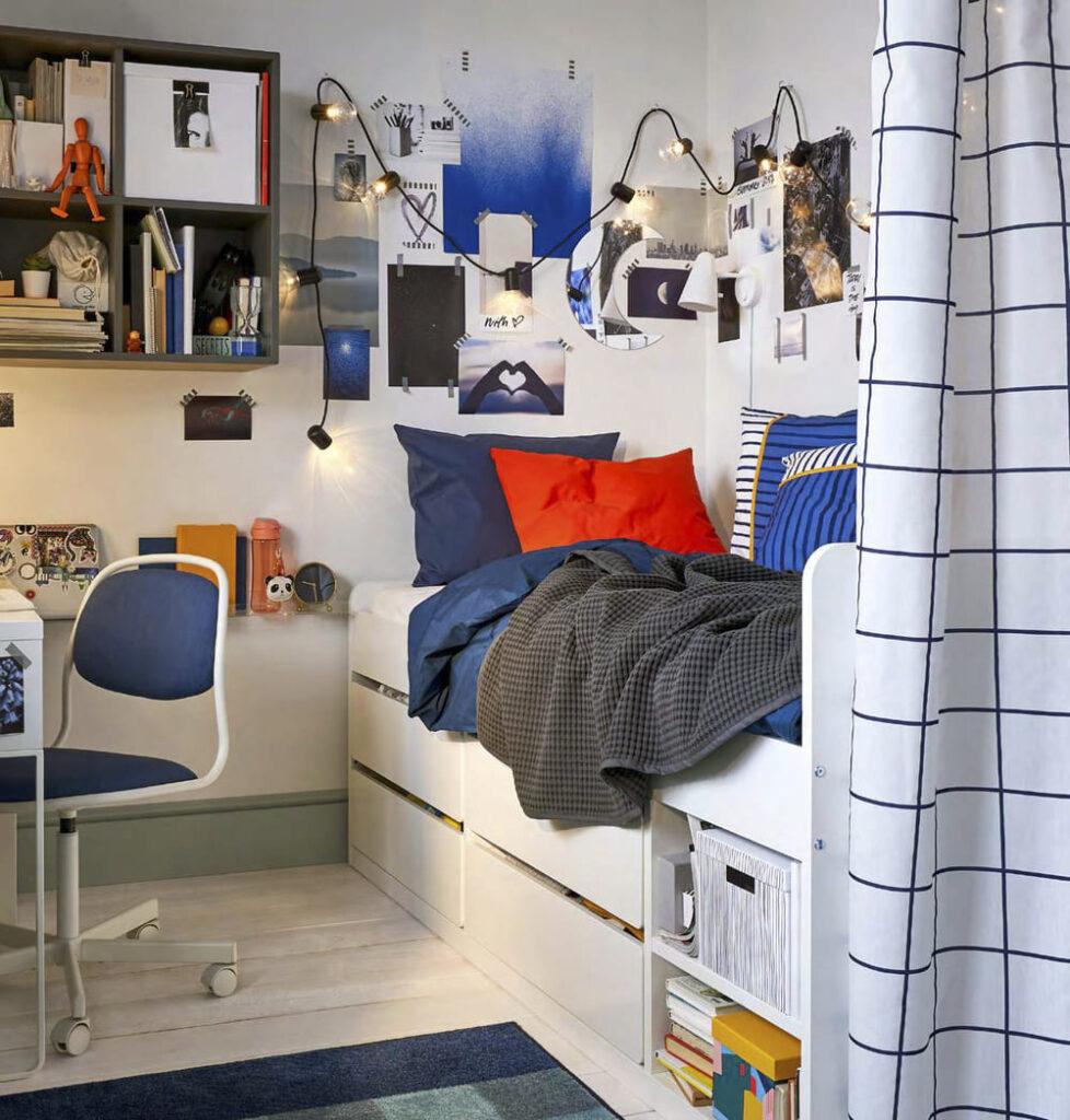 catálogo ikea 2020 dormitorio juvenil estructura cama blanca con almacenaje novedad