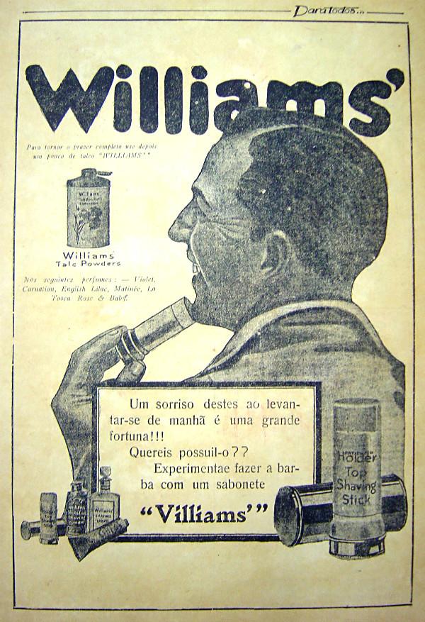 Propaganda antiga do Talco Williams veiculada no começo dos anos 20