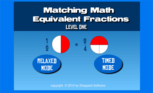 Matching equivalent fractions game
