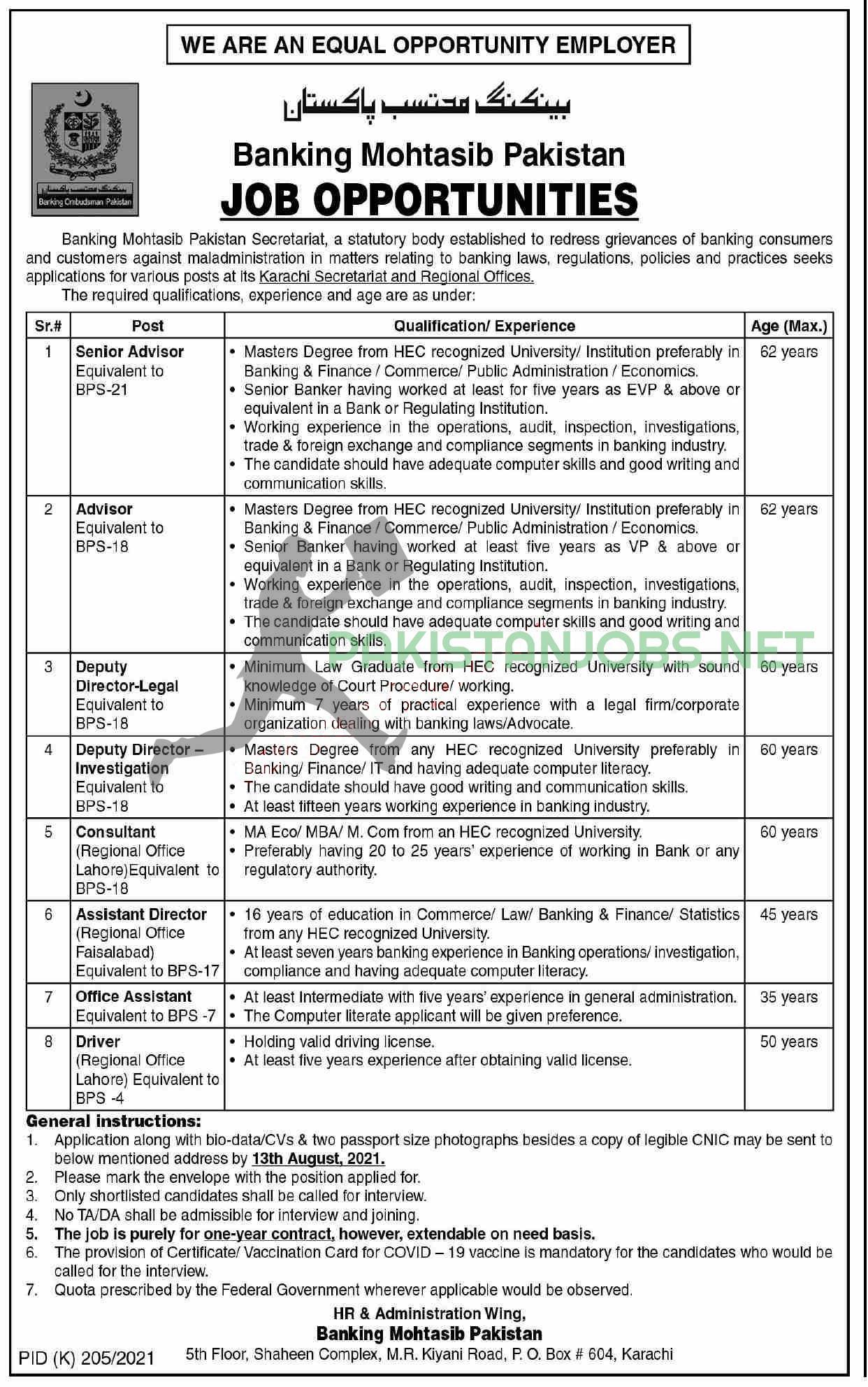 Pakistan Banking Muhtasib Jobs Latest 2021