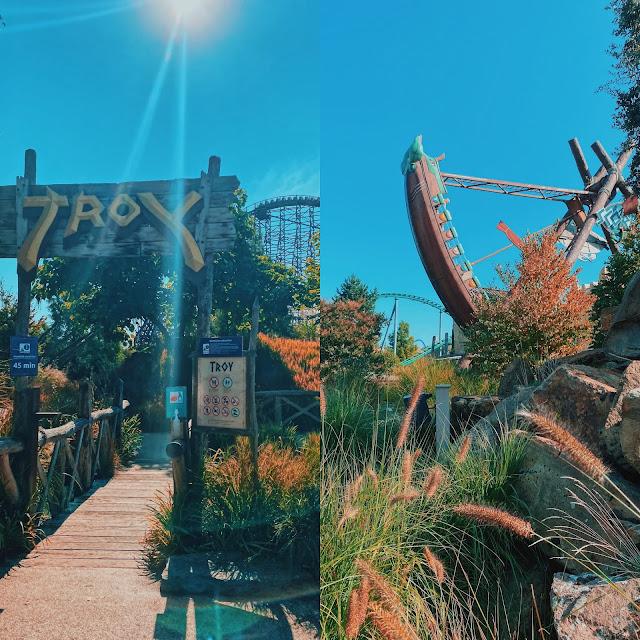 Themagebied Ithaka in Toverland met achtbaan Troy en schommelschip