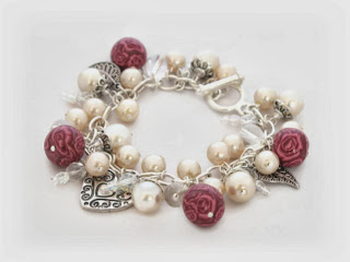 White pearl charm bracelet featuring my polymer clay millefiori beads handmade by Lottie Of London