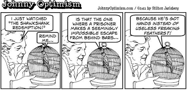 johnny optimism, medical, humor, sick, jokes, boy, wheelchair, doctors, hospital, stilton jarlsberg, love bird, shawshank redemption, prison, bars, cage