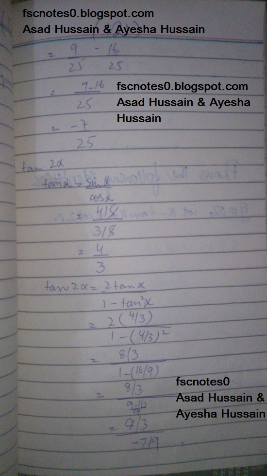 FSc ICS FA Notes Math Part 1 Chapter 10 Trigonometric Identities Exercise 10.3 Question 1 - 4 Written by Asad Hussain & Ayesha Hussain 4
