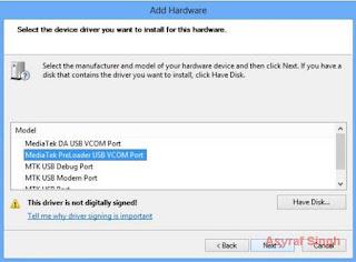 Install MT65xx (Mediatek) USB VCOM Drivers