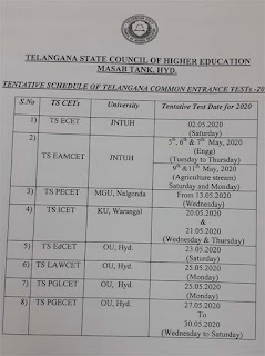 TS CETS 2020 Telangana released CET exams schedule-ICET, EAMCET, ECET, EDCET, LAWCET, PGECET, PECET-Notification