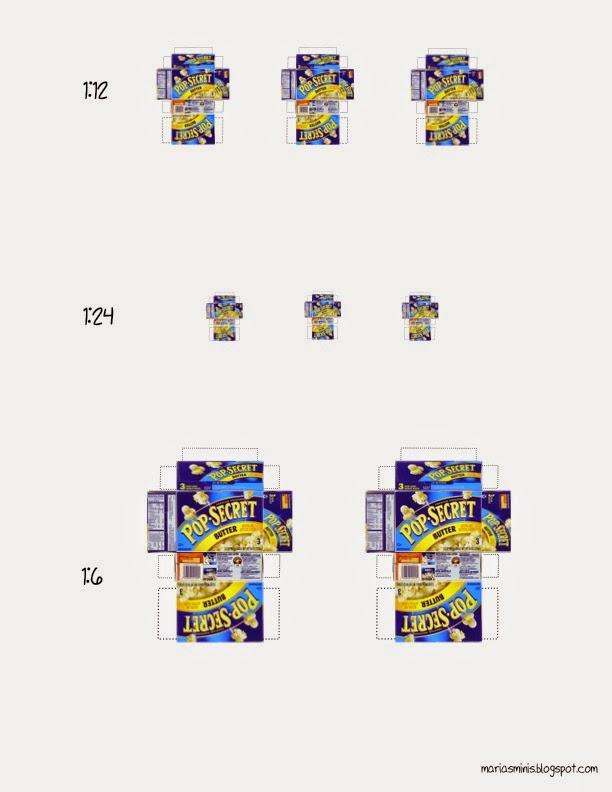 Maria\u0027s Minis Free Printable Miniature Popcorn Box