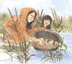 La cesta col piccolo viene adagiata sulle acque