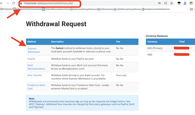 Choose withdrawal method in Withdrawal request page